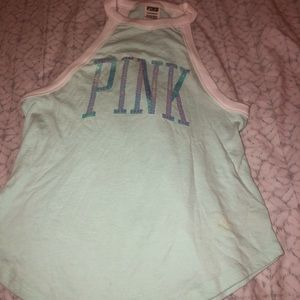 Pink- tank top teal sequins